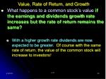 value rate of return and growth29