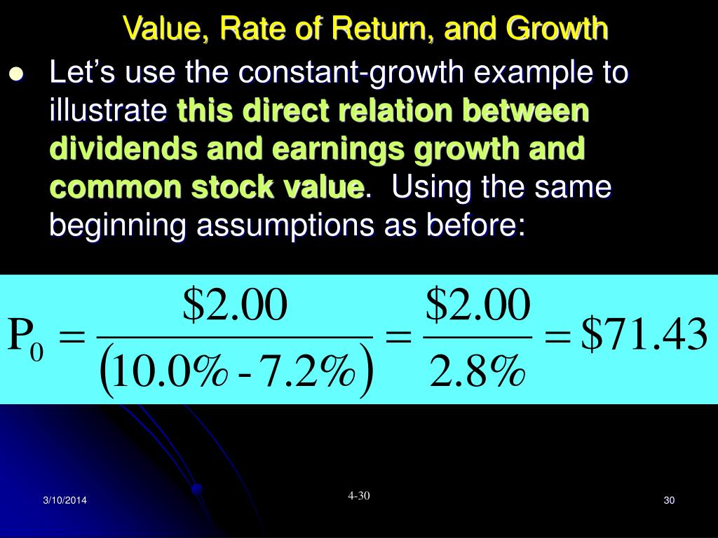Value, Rate of Return, and Growth