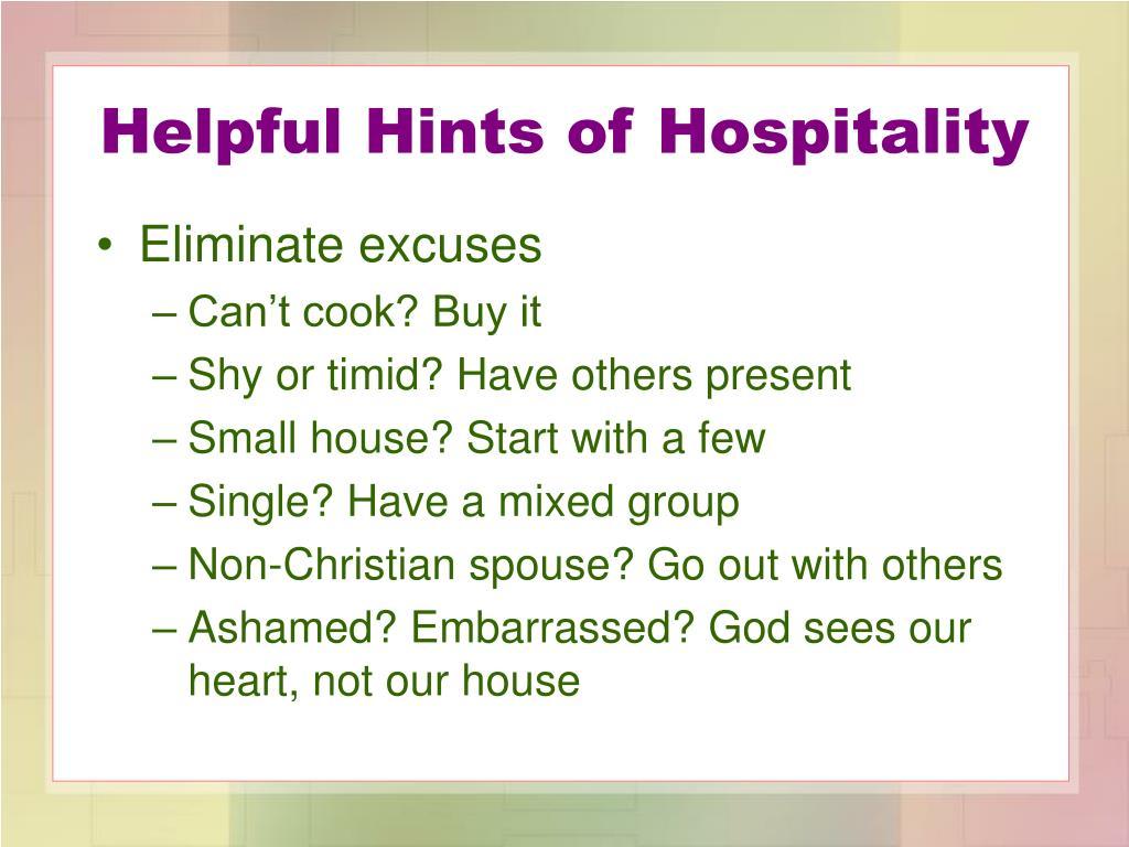 Helpful Hints of Hospitality