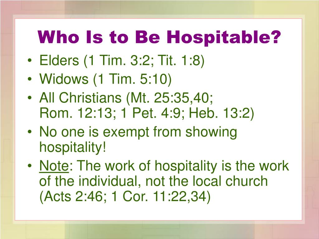 Who Is to Be Hospitable?