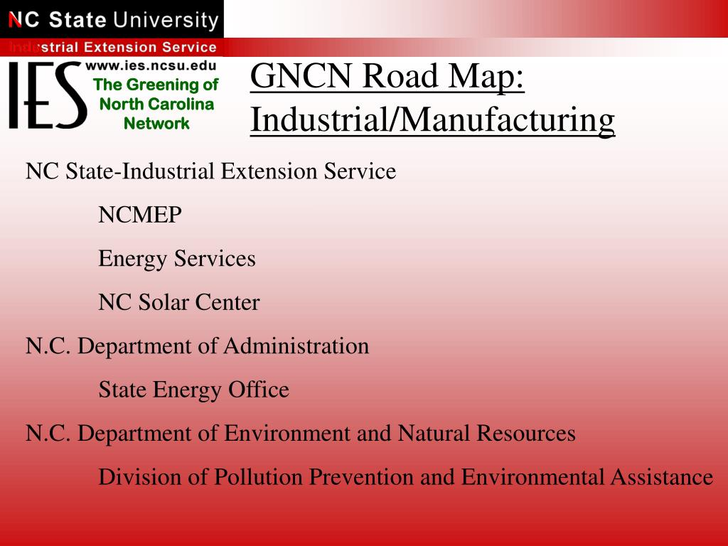 GNCN Road Map: Industrial/Manufacturing