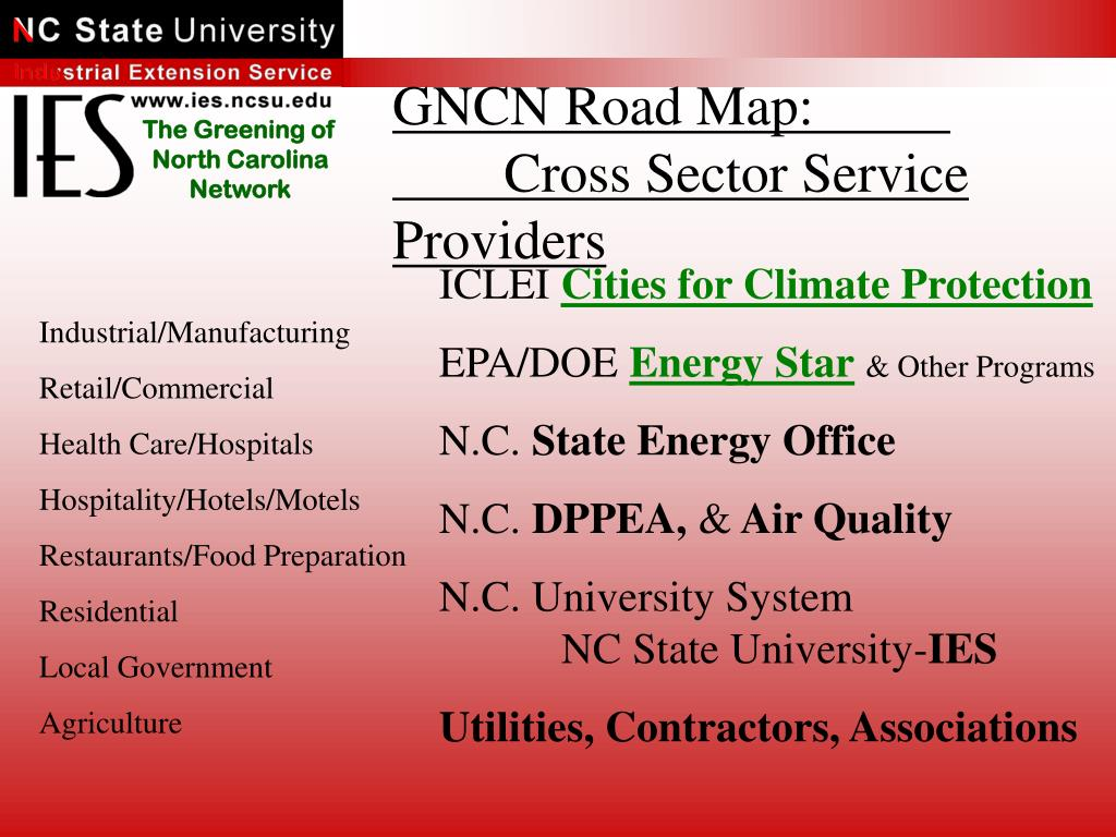GNCN Road Map:			Cross Sector Service Providers