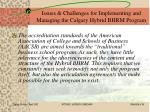 issues challenges for implementing and managing the calgary hybrid bhrm program26