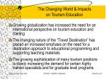 the changing world impacts on tourism education31