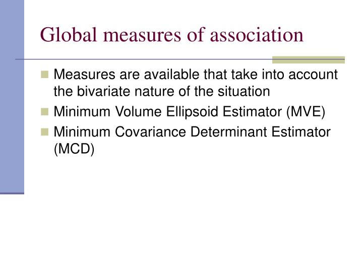Global measures of association