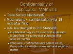 confidentiality of application materials