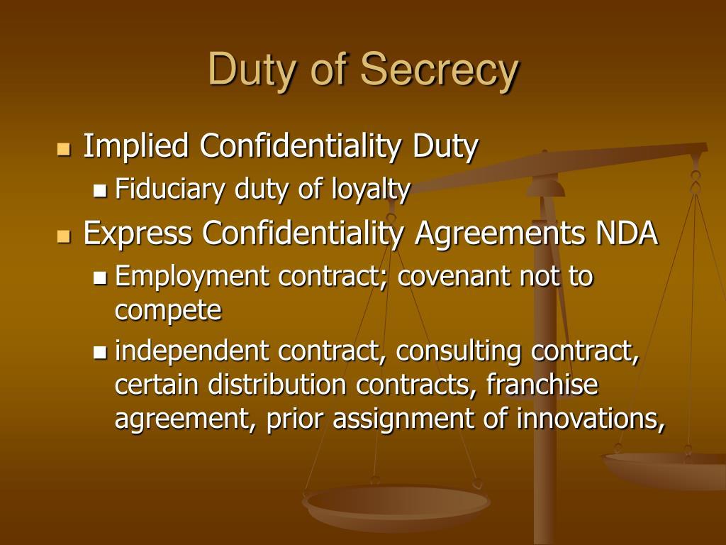 Duty of Secrecy