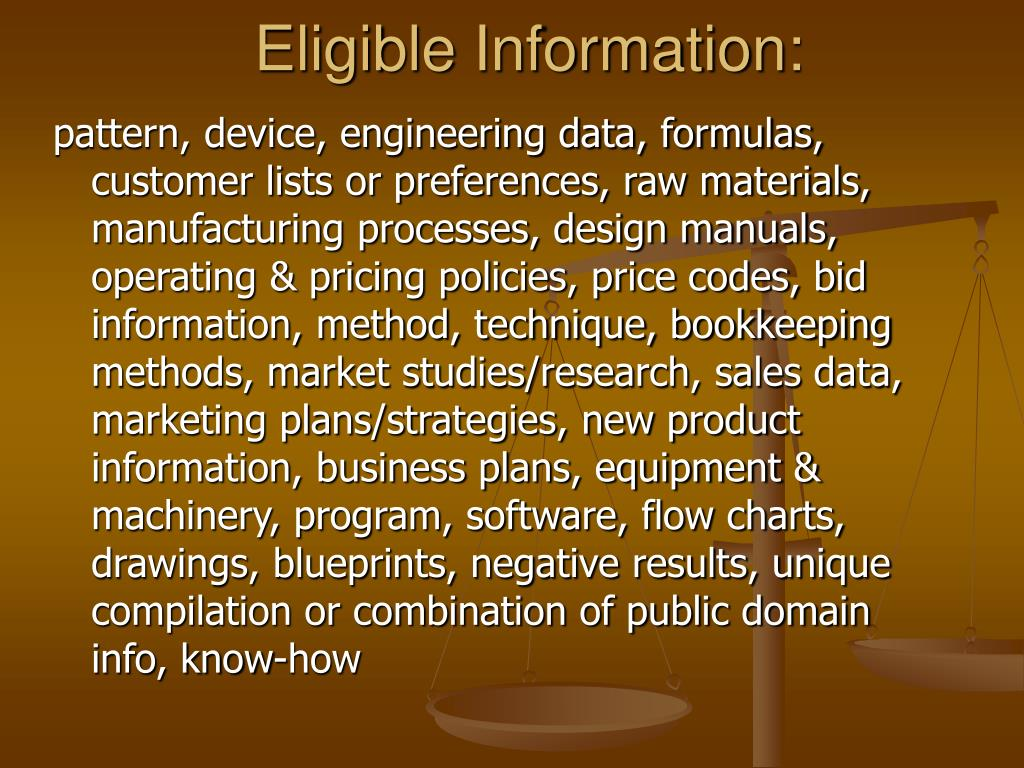 Eligible Information: