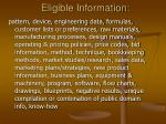 eligible information