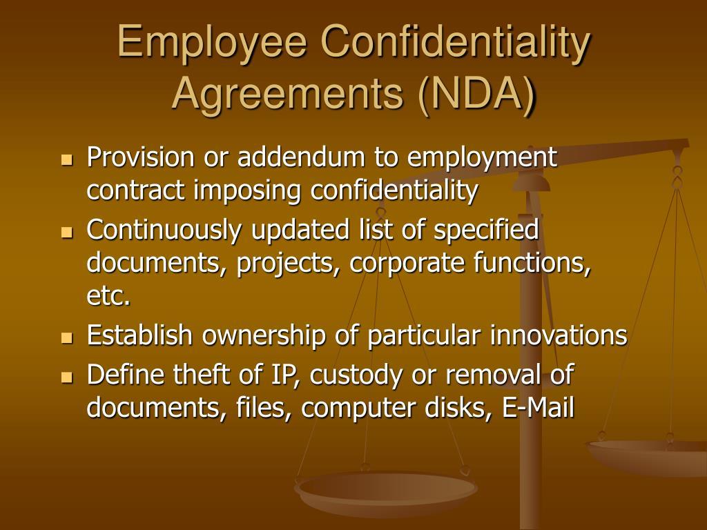 Employee Confidentiality Agreements (NDA)