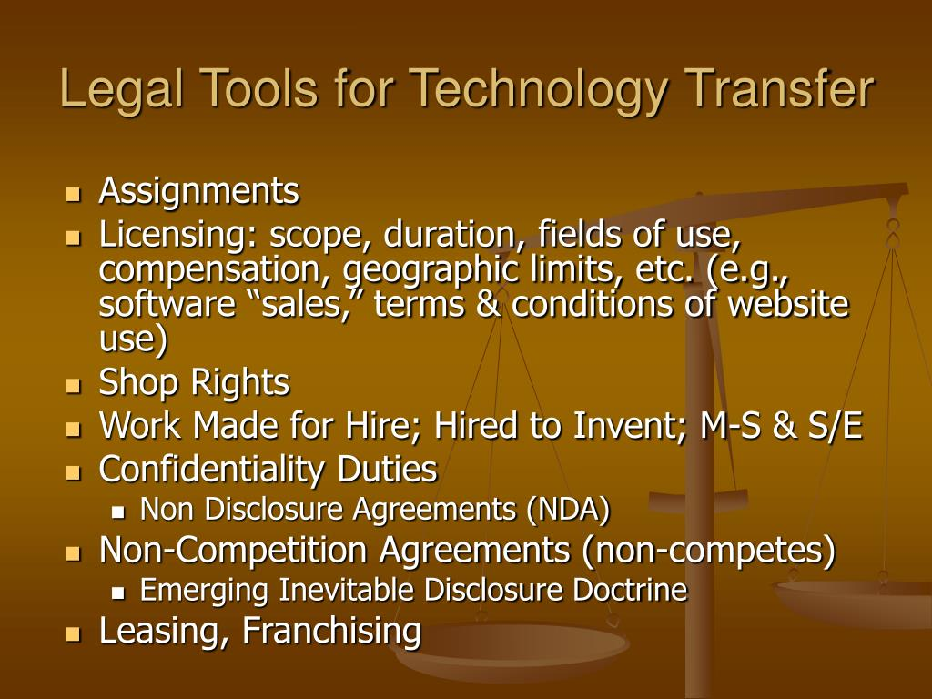 Legal Tools for Technology Transfer