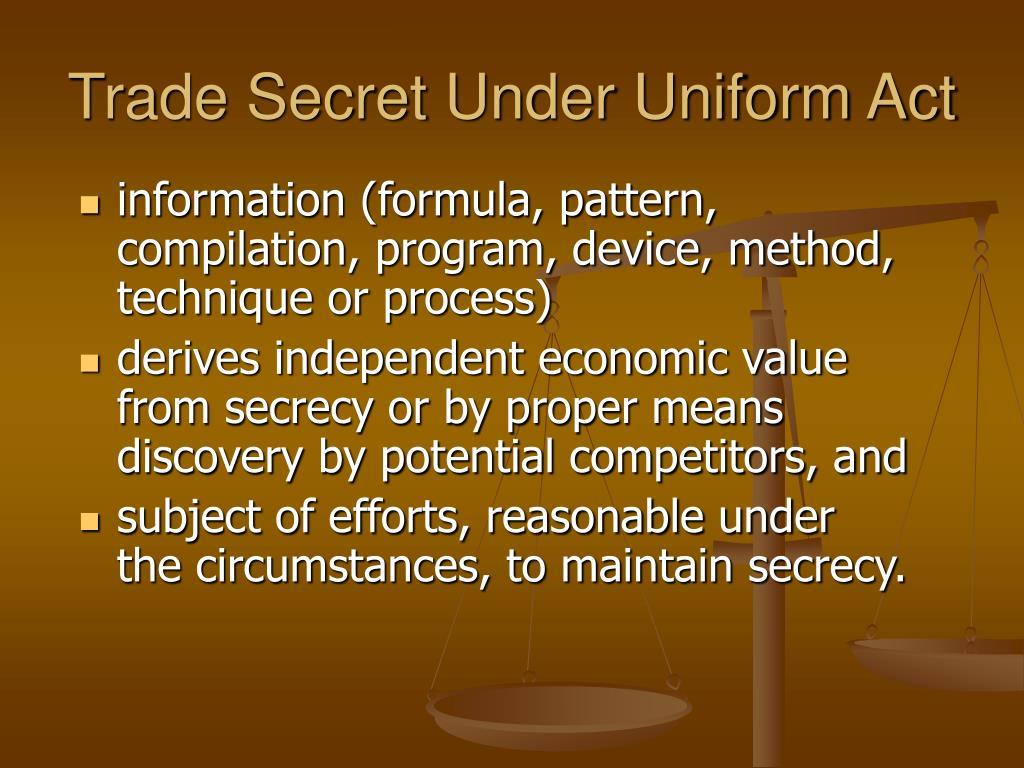 Trade Secret Under Uniform Act