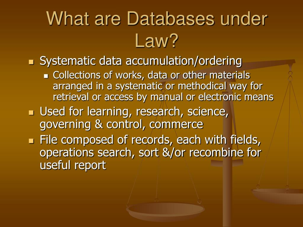What are Databases under Law?