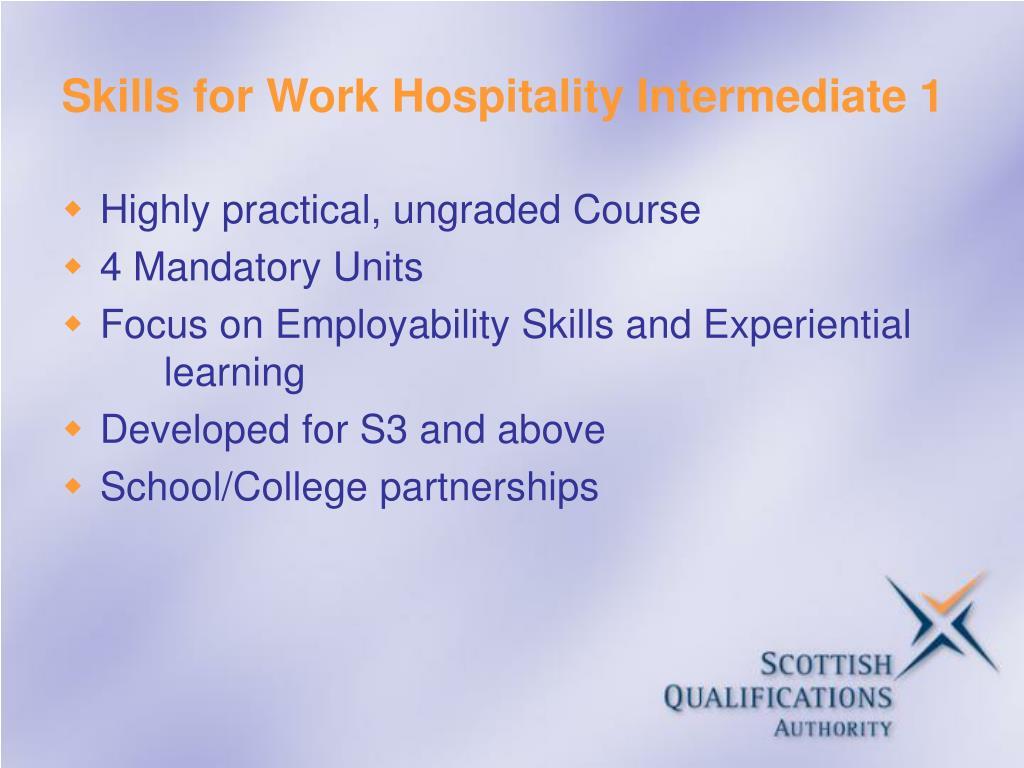 Skills for Work Hospitality Intermediate 1