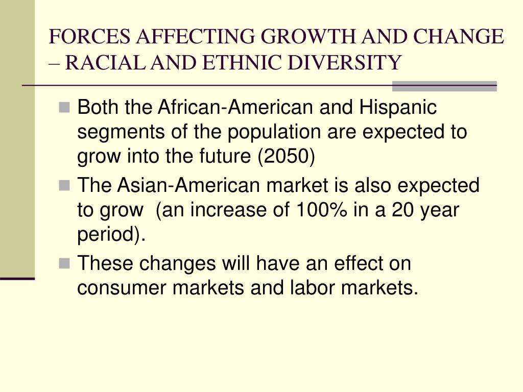 FORCES AFFECTING GROWTH AND CHANGE – RACIAL AND ETHNIC DIVERSITY
