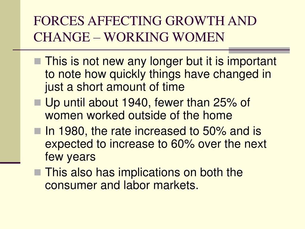 FORCES AFFECTING GROWTH AND CHANGE – WORKING WOMEN