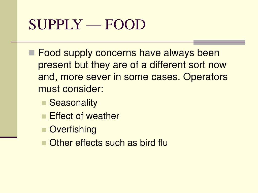 SUPPLY — FOOD