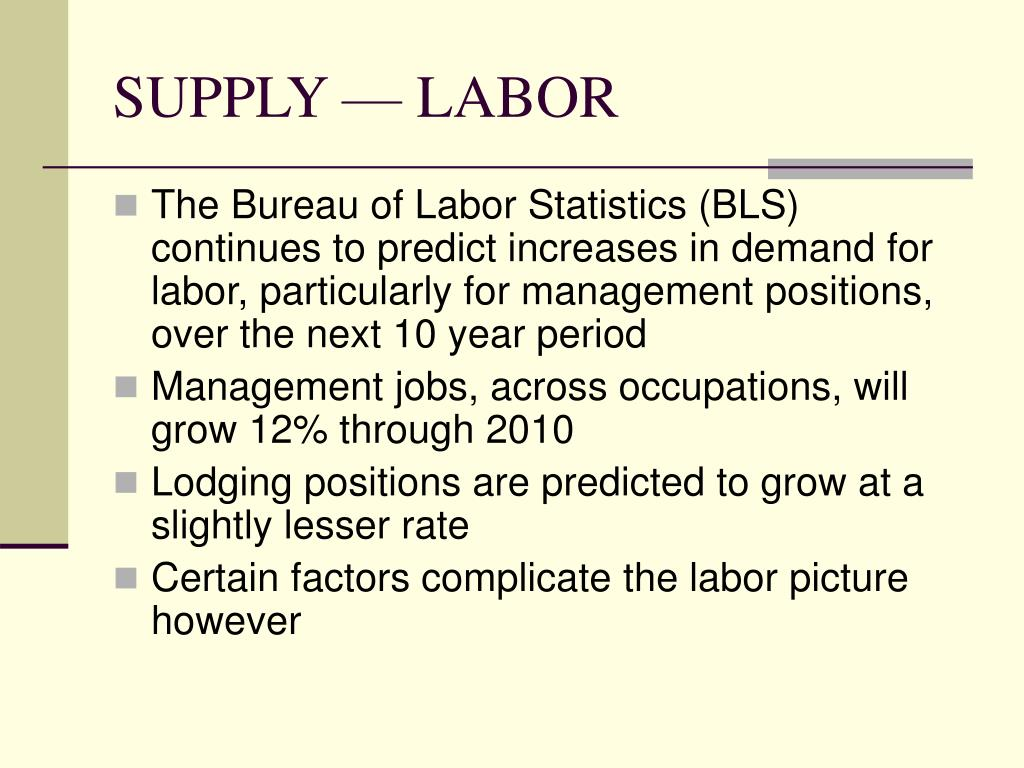 SUPPLY — LABOR