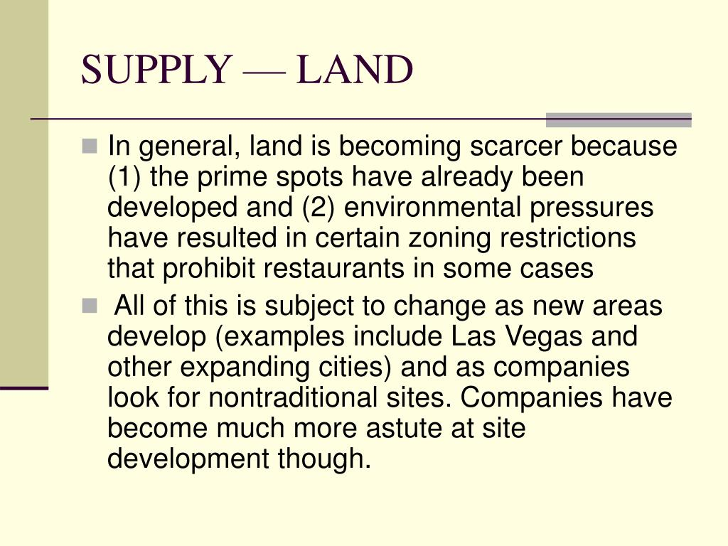 SUPPLY — LAND