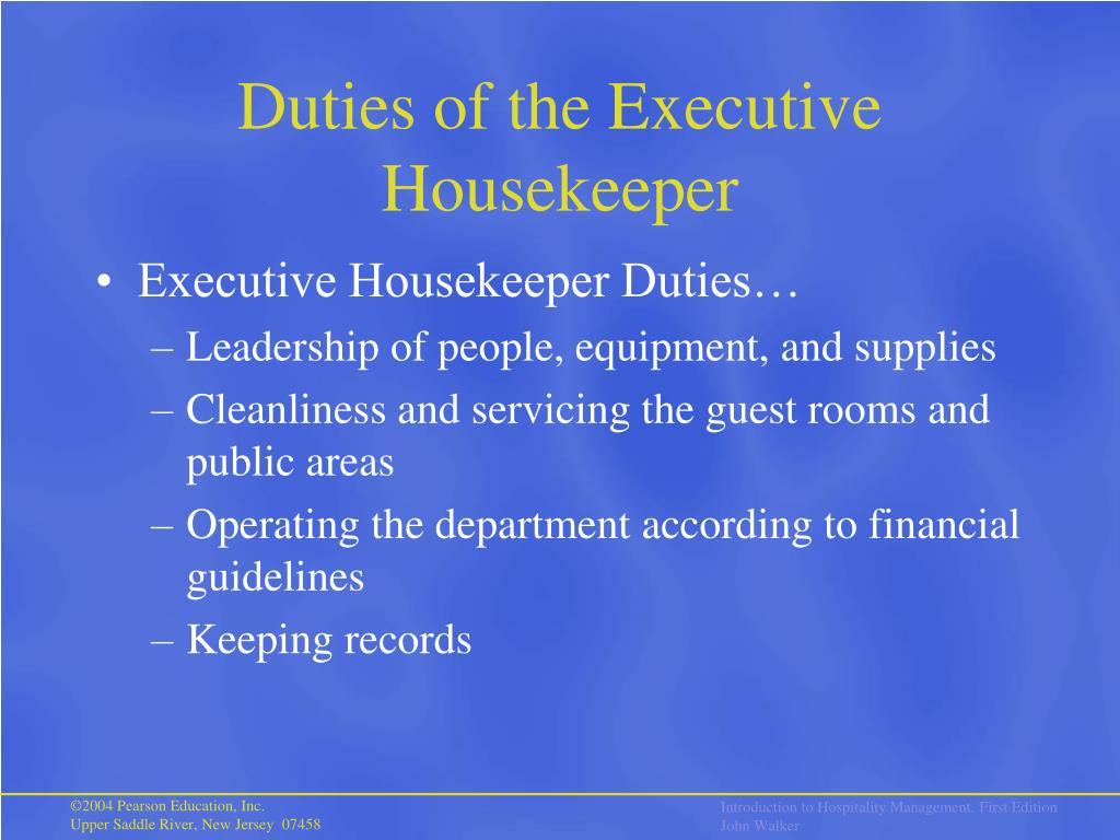 Duties of the Executive Housekeeper