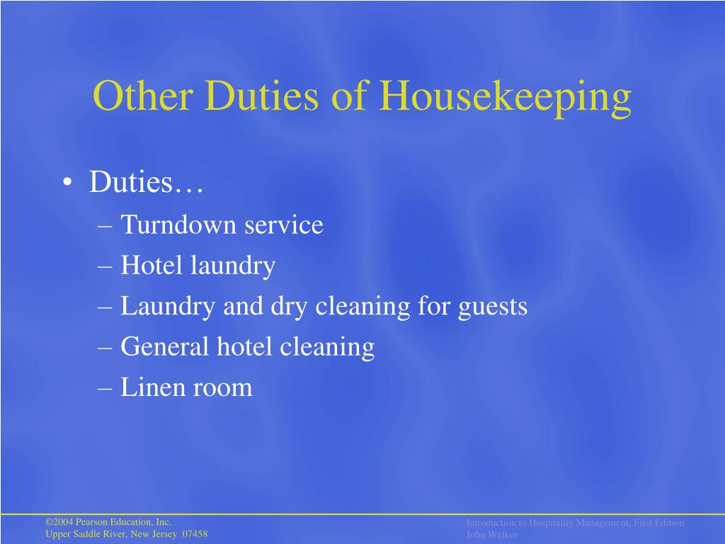 Other Duties of Housekeeping