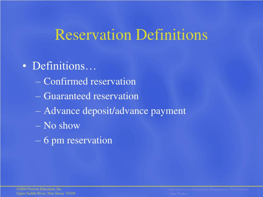 Reservation Definitions