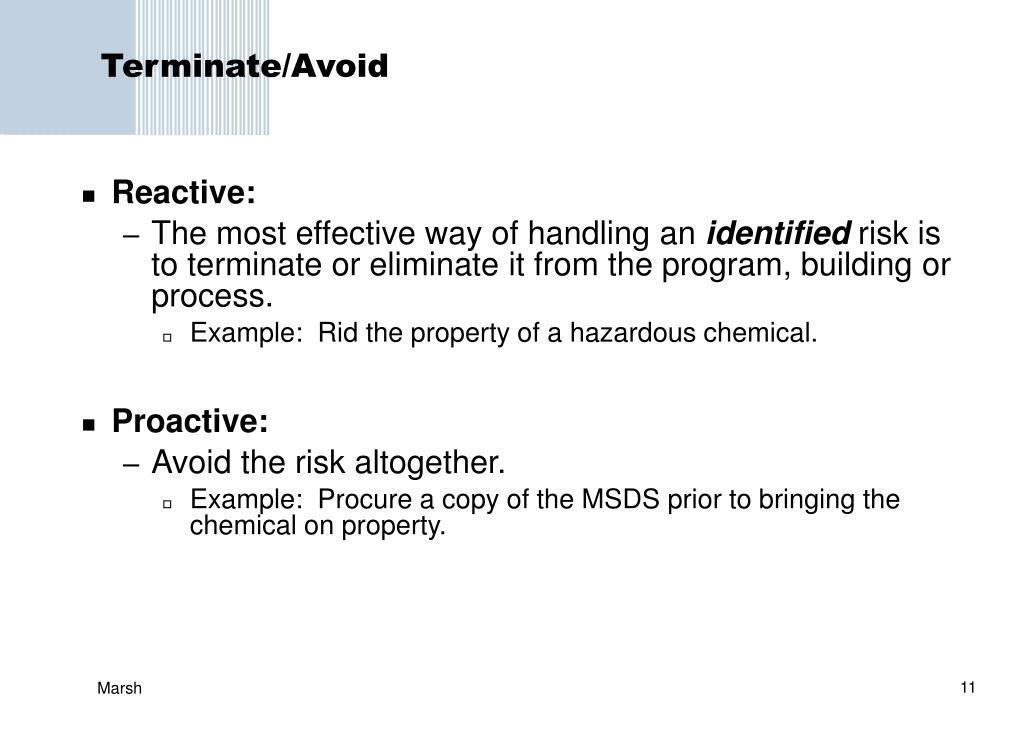 Terminate/Avoid