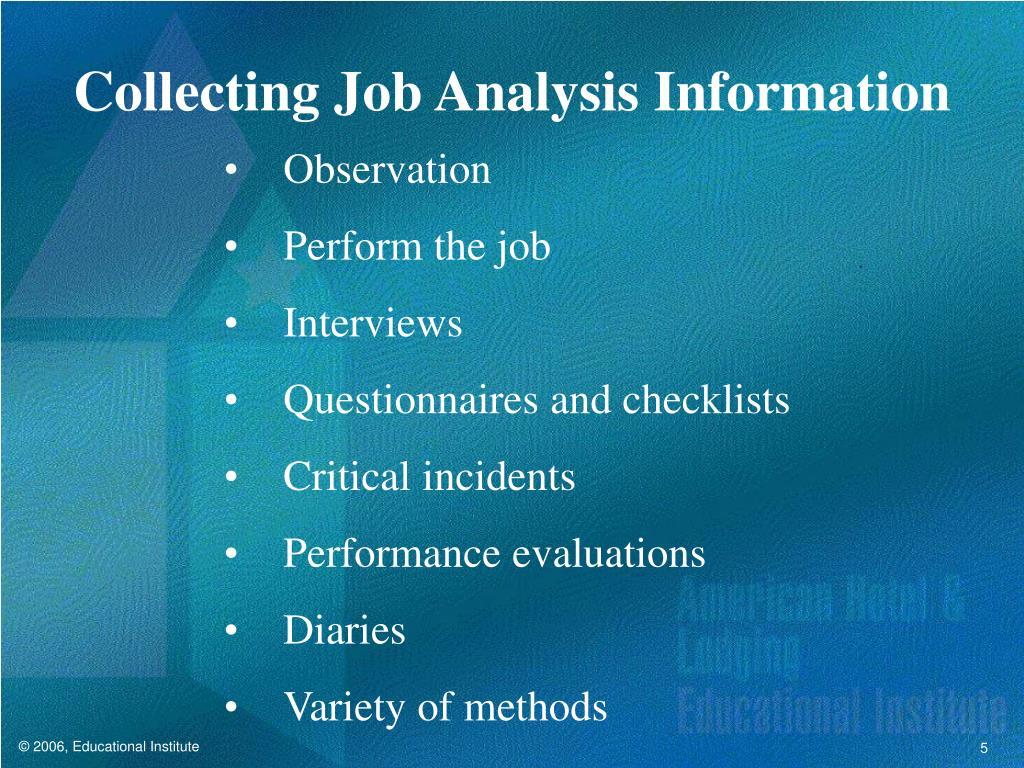 Collecting Job Analysis Information