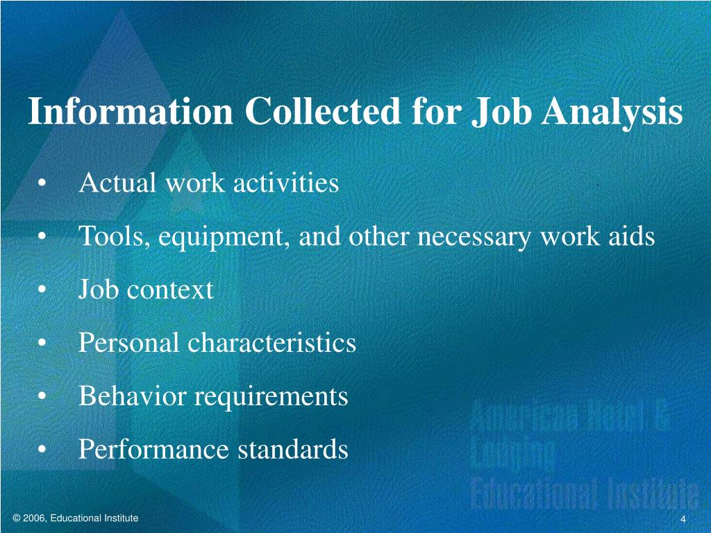 Information Collected for Job Analysis