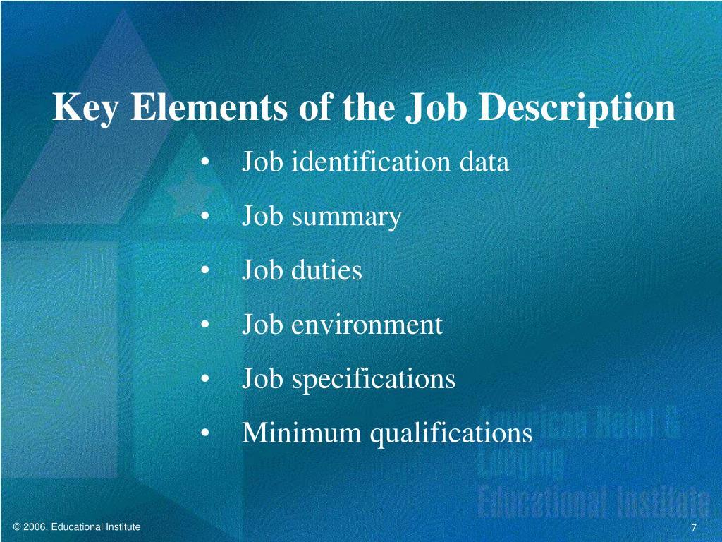 Key Elements of the Job Description
