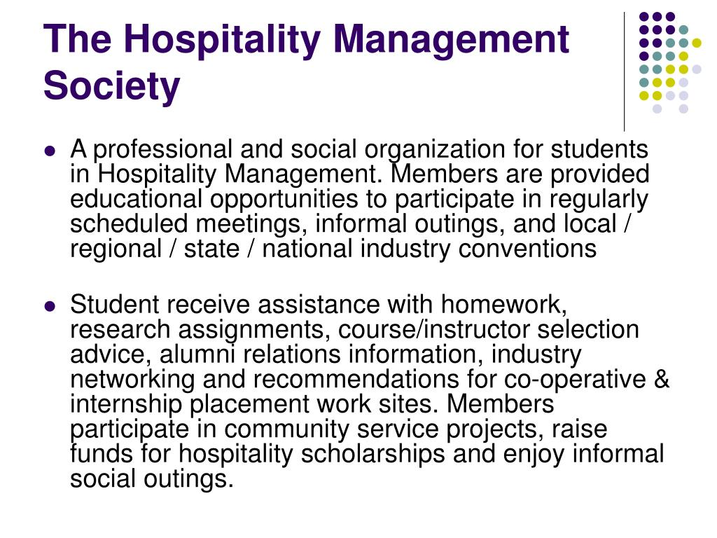 The Hospitality Management Society