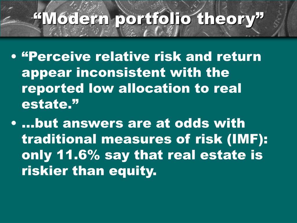 """Modern portfolio theory"""