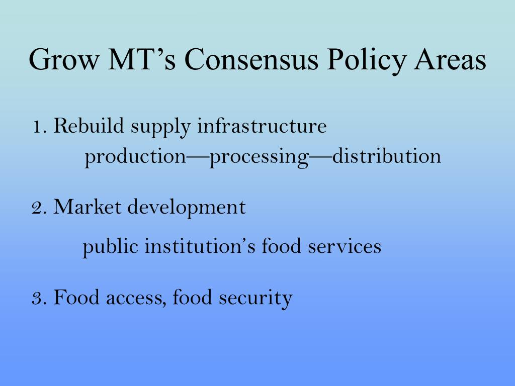 Grow MT's Consensus Policy Areas