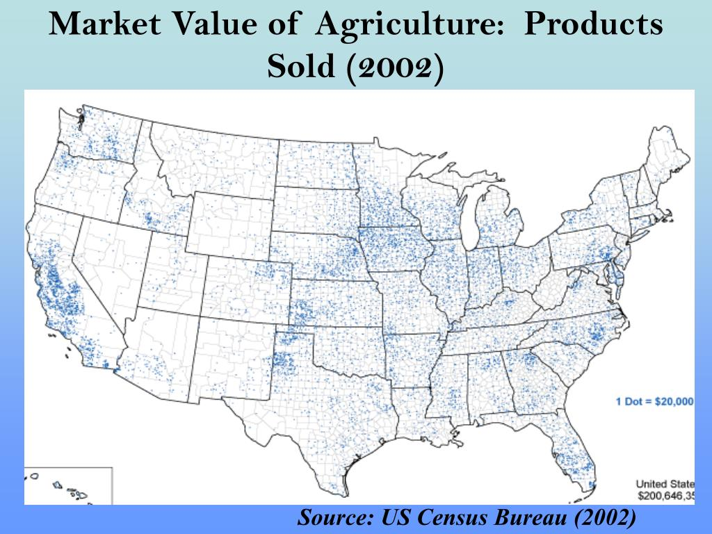 Market Value of Agriculture:  Products Sold (2002)