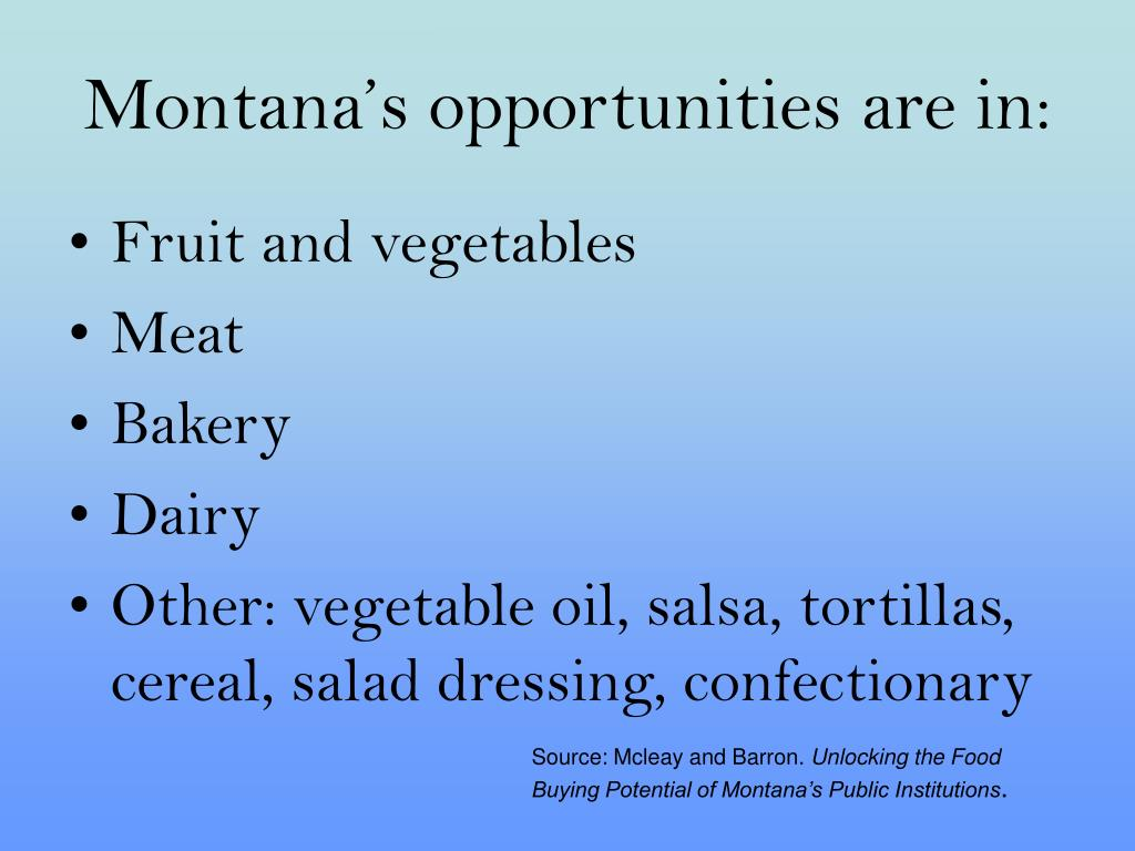 Montana's opportunities are in: