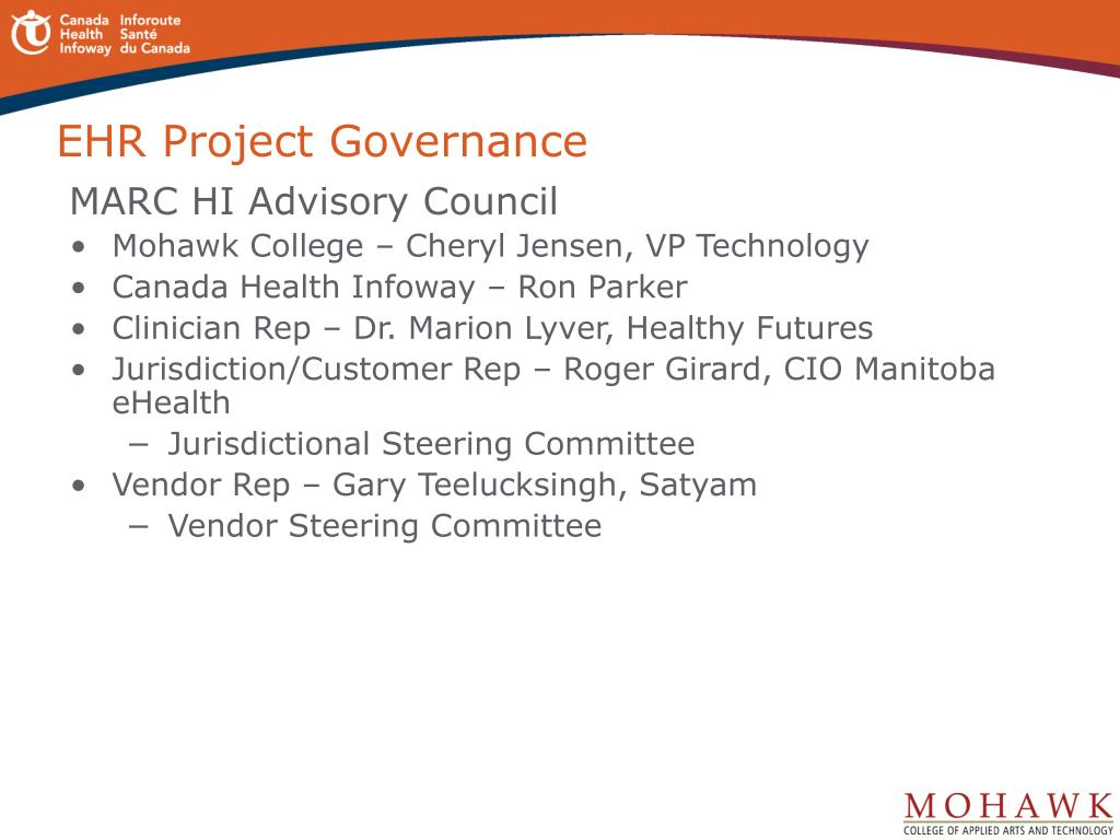 EHR Project Governance
