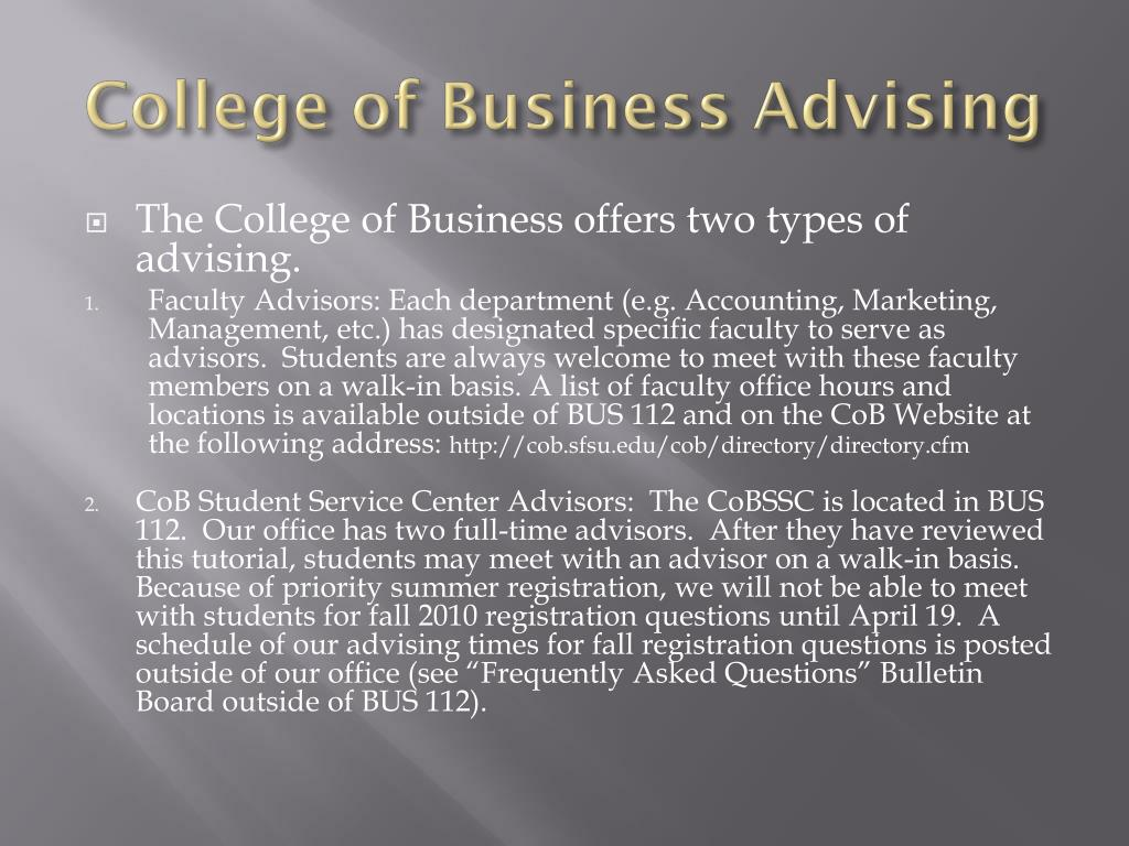 College of Business Advising