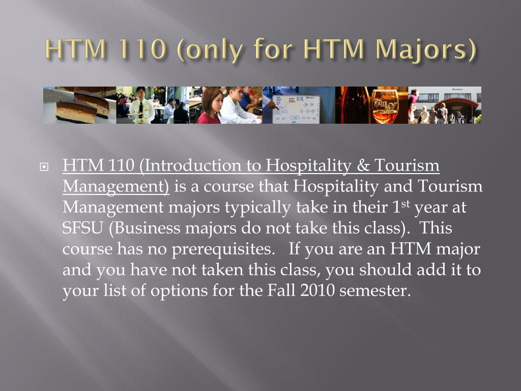 HTM 110 (only for HTM Majors)