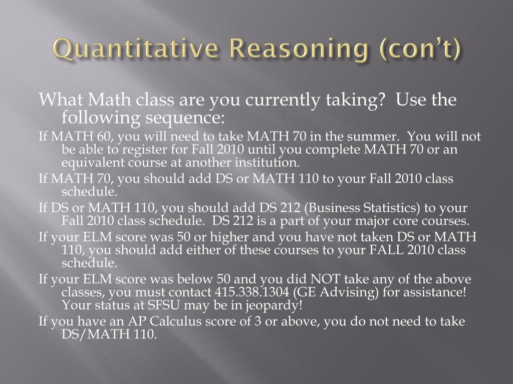 Quantitative Reasoning (
