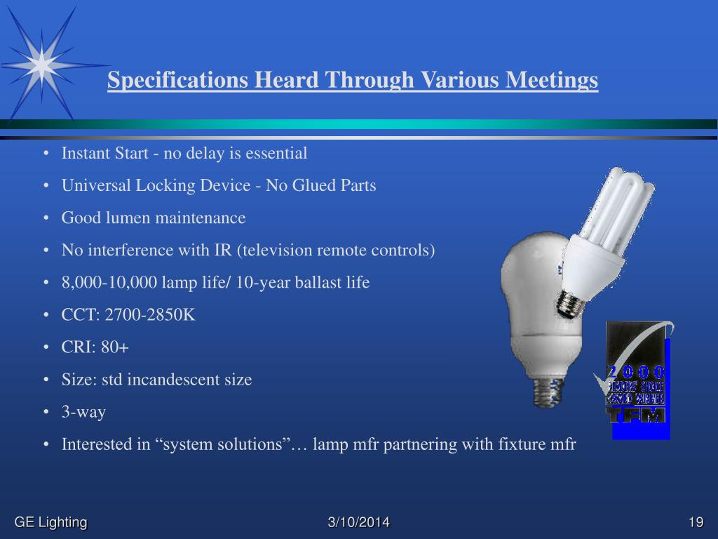 Specifications Heard Through Various Meetings