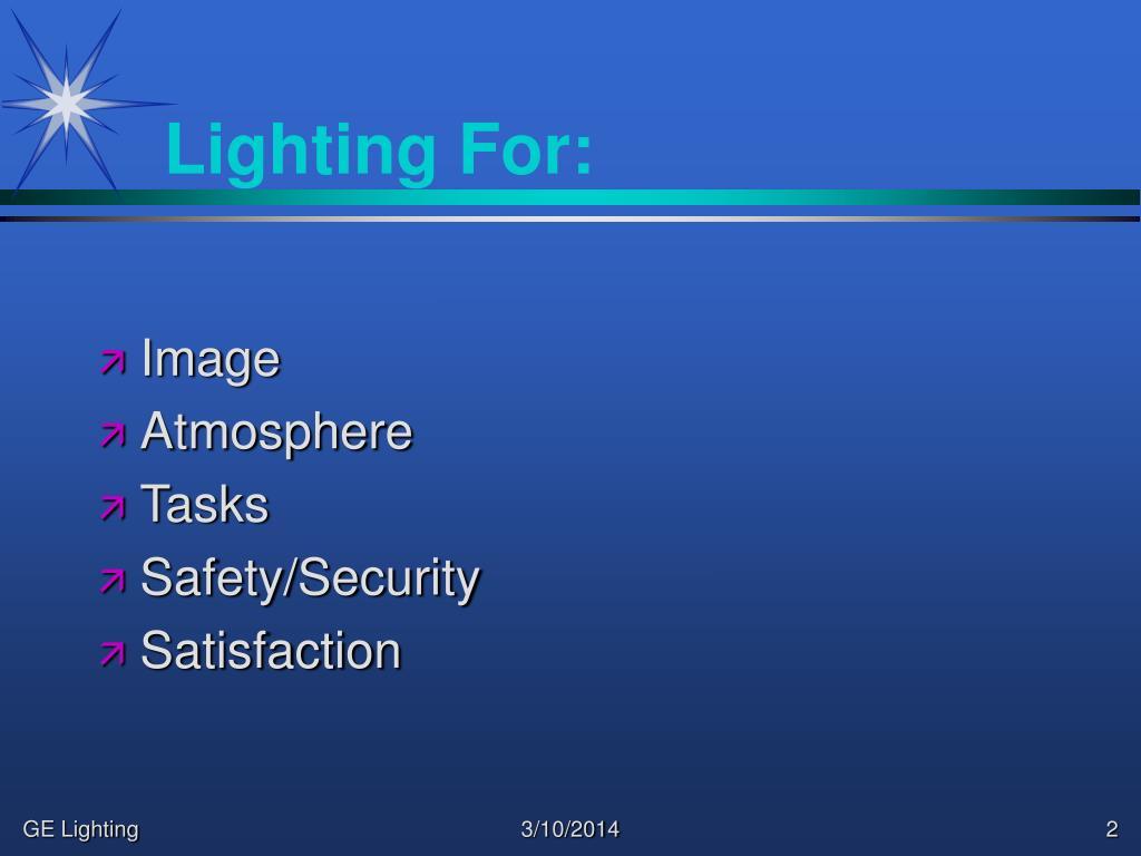 Lighting For: