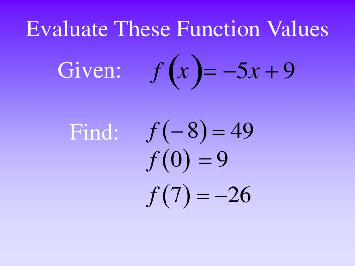 Evaluate These Function Values