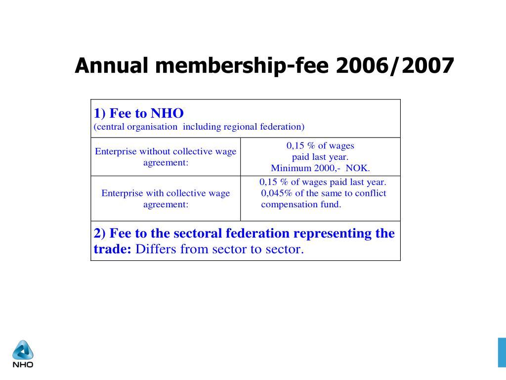 Annual membership-fee 2006/2007