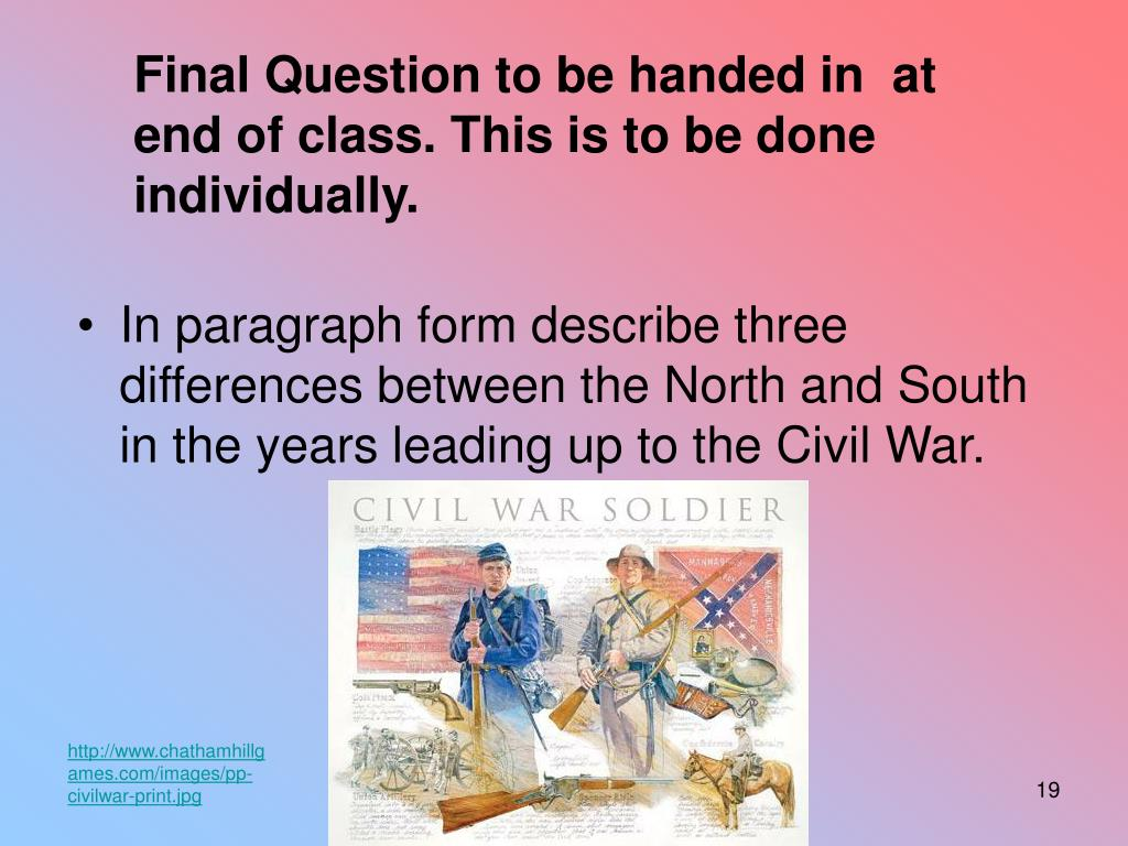 Final Question to be handed in  at end of class. This is to be done individually.