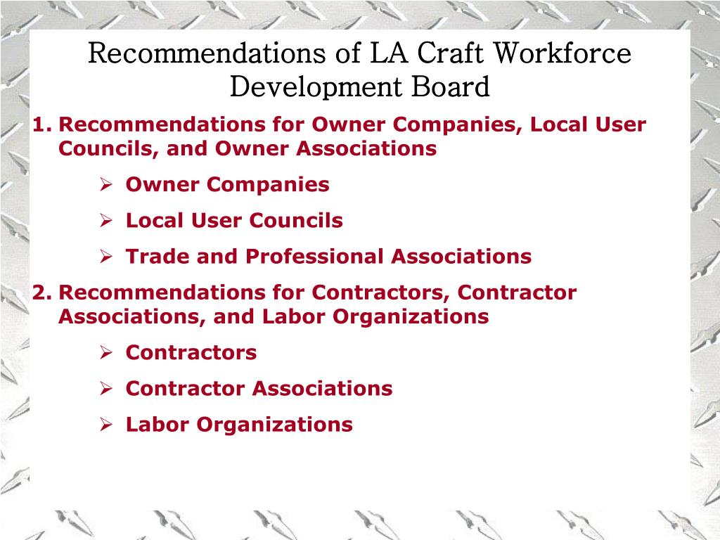 Recommendations of LA Craft Workforce Development Board