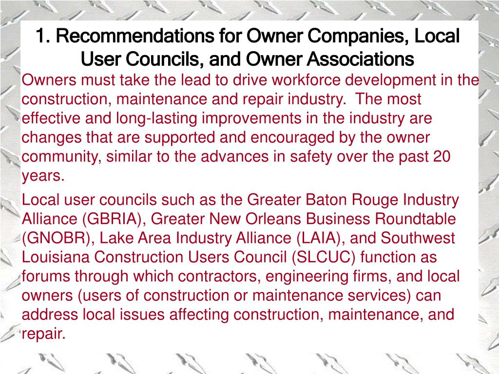 1. Recommendations for Owner Companies, Local User Councils, and Owner Associations