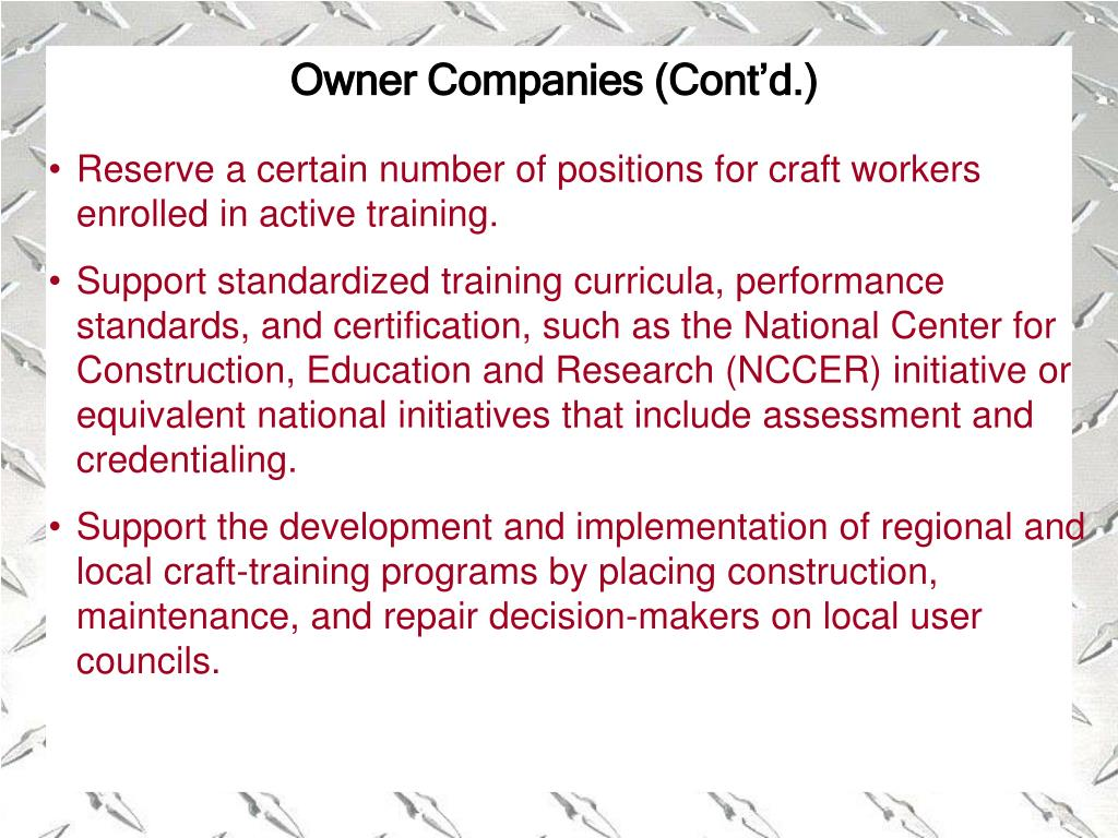 Owner Companies (Cont'd.)