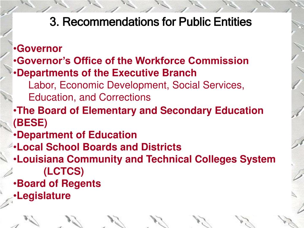 3. Recommendations for Public Entities