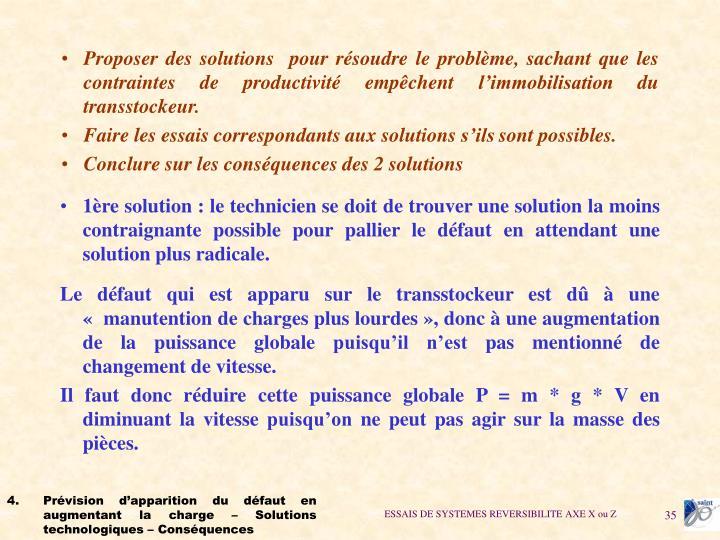 Proposer des solutions pour résoudre le problème, sachant que les contraintes de productivité empêchent l'immobilisation du transstockeur.