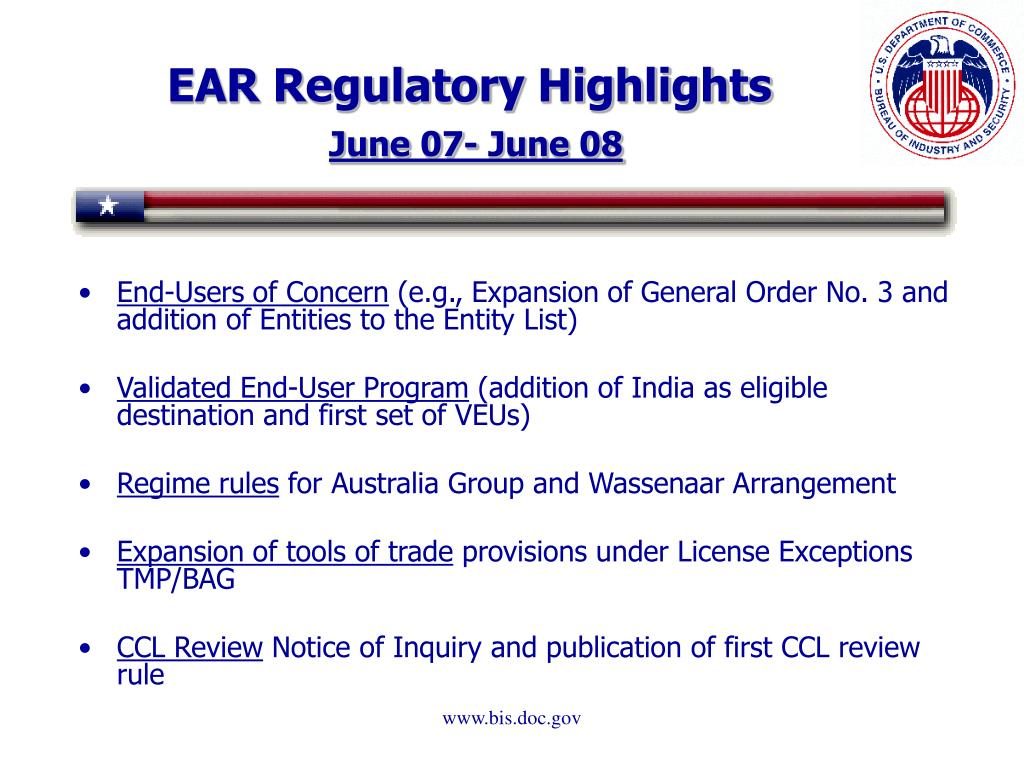 EAR Regulatory Highlights